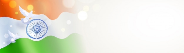 Wavy indian flag with flying pigeons illustration