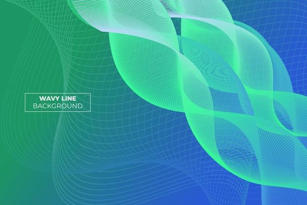 Волнистые полосы градиент абстрактный фон зеленый и синий