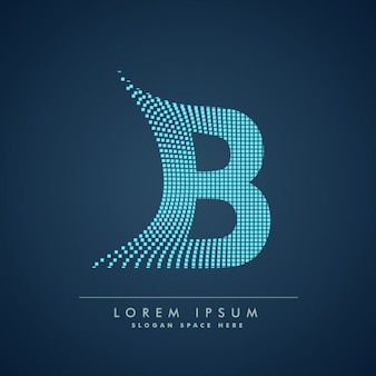 Wavy letter b logo in abstract style