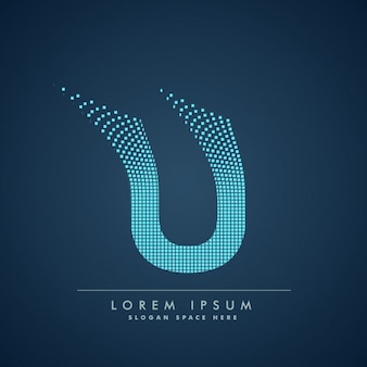 Wavy letter u logo in abstract style
