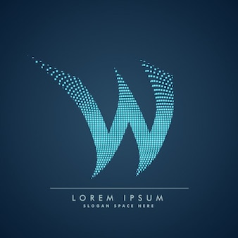 Wavy letter w logo in abstract style