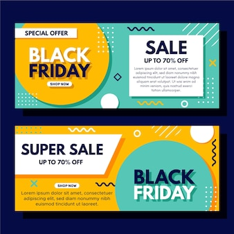Wavy lines black friday banner template