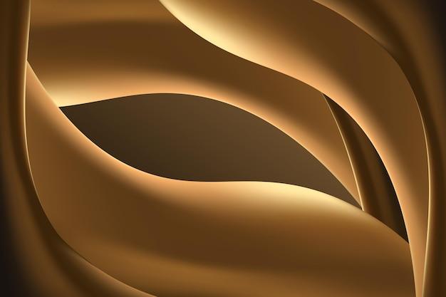 滑らかな金色の背景の波線