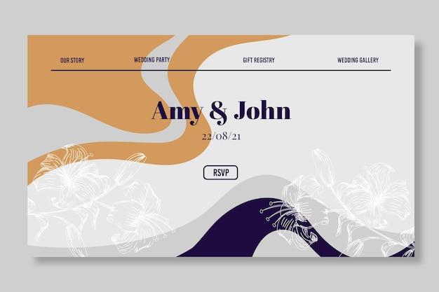 Wavy lines wedding invitation