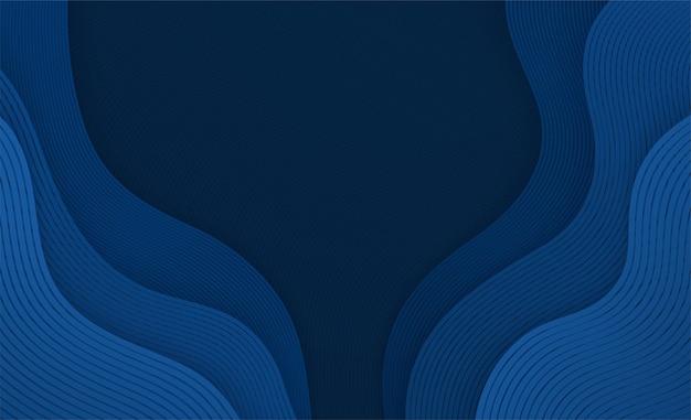 Волнистый жидкий синий фон с линиями. абстрактная геометрическая композиция движущихся кривых форм.