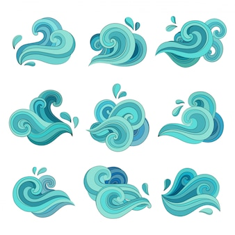 Wavy liquid and curvy aqua symbols of nature in motion