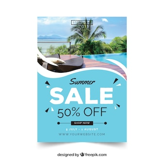 Wavy modern summer sale flyer template with image