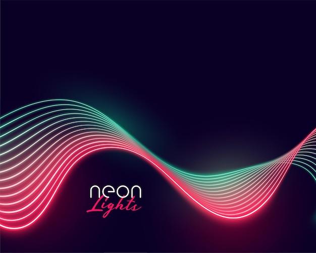 Visualizzazione di linee di luce al neon ondulate