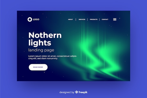 Wavy northern lights landing page
