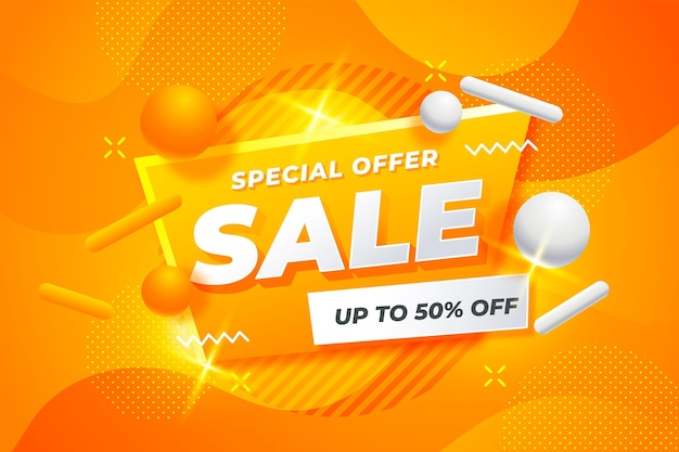Wavy orange background with 3d elements sale concept