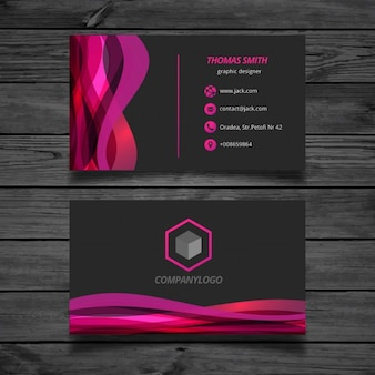 Wavy pink and black Business Card