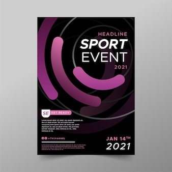Шаблон плаката спортивного мероприятия волнистые фиолетовые линии
