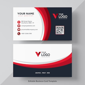 Wavy red and black corporate card