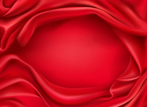 Wavy red silk fabric realistic background