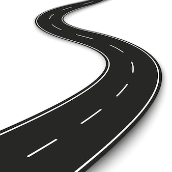 Wavy road strip. highway strip template  for infographic and banner.  illustration