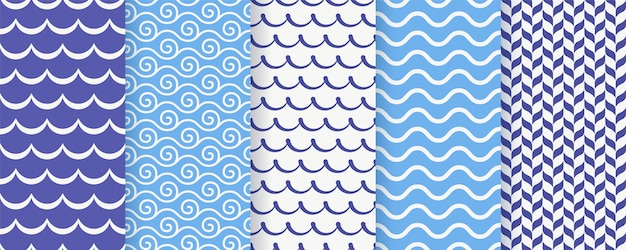 Wavy seamless pattern.  illustration. sea geometric prints.