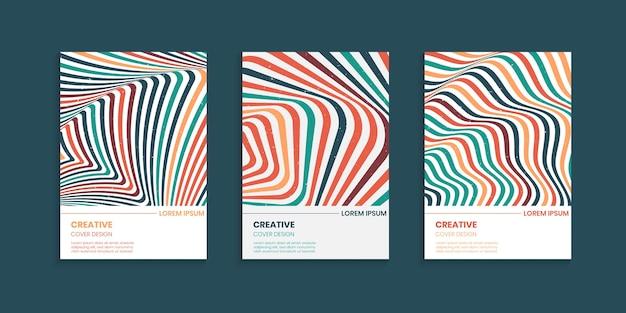Wavy stripes lines cover design set in vintage colors