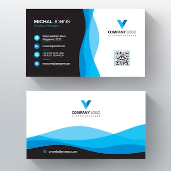 Wavy style business card template vector