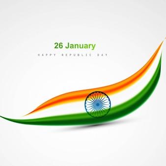 Wavy stylish indian flag design