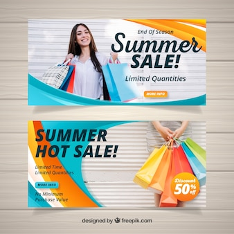 Wavy summer sale banners with photo