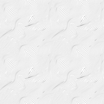 Wavy thin black lines on white, seamless pattern