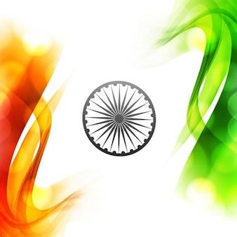 Wavy Tricolor Indian flag design