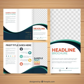 Wavy trifold brochure template Free Vector