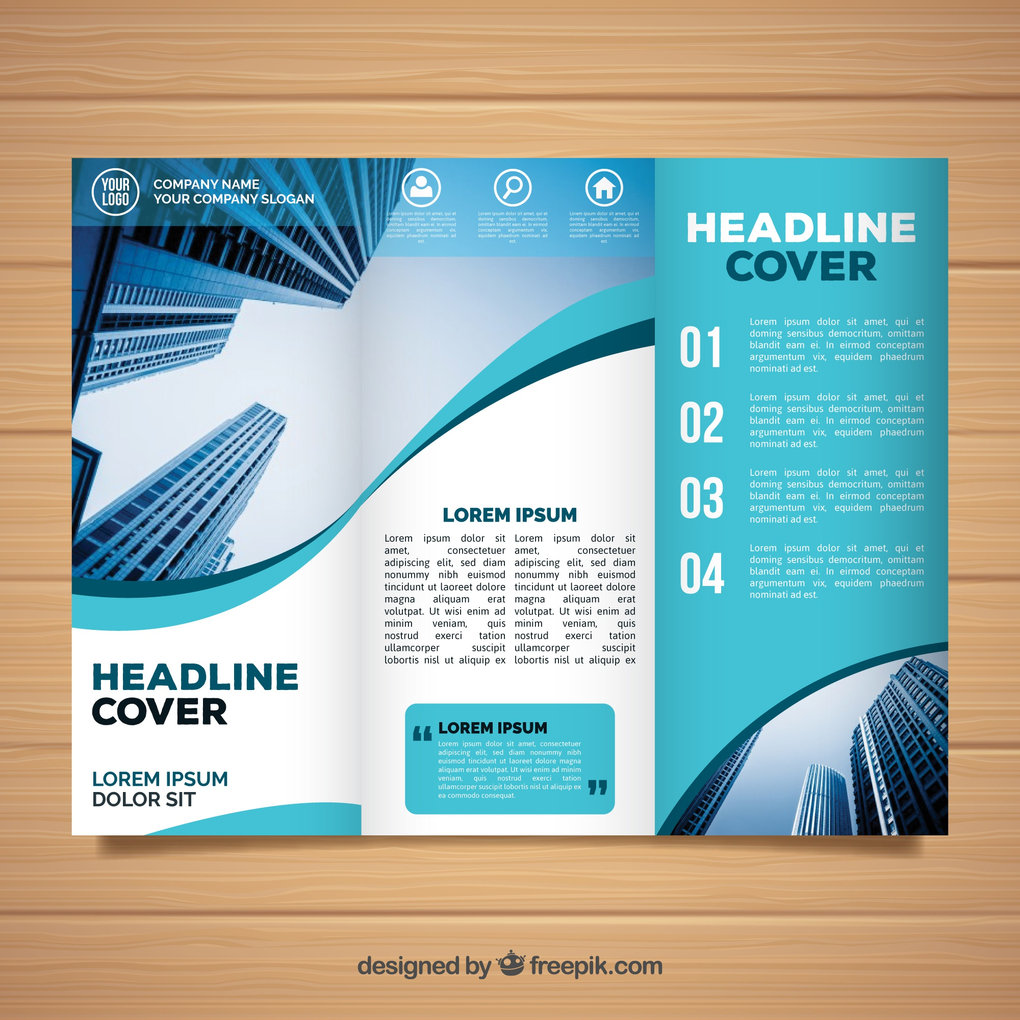 Wavy trifold business brochure template