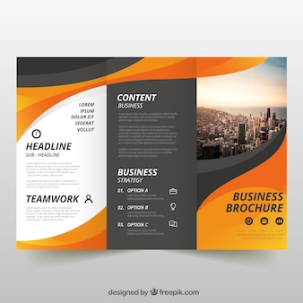 Wavy trifold business flyer