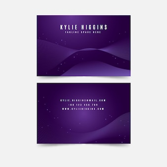 Wavy violet design and dots business card template