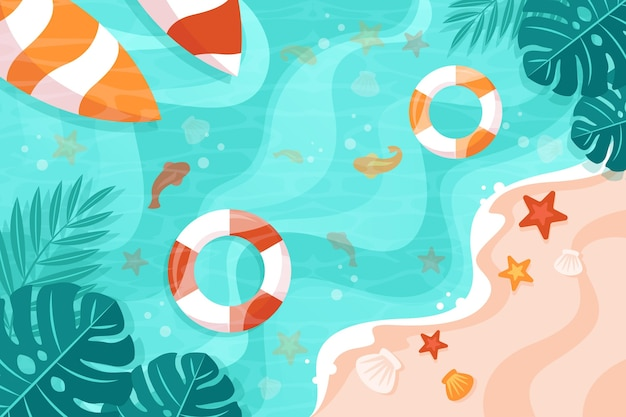 Wavy waters and floaties summer background