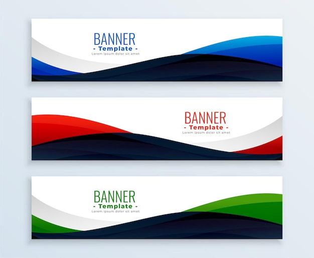 Wavy web business banners headers set