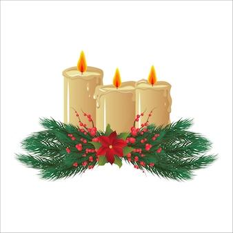 Восковые свечи. рождественский декор, украшения. веселого рождества и счастливого нового года. изолированный белый фон. Premium векторы