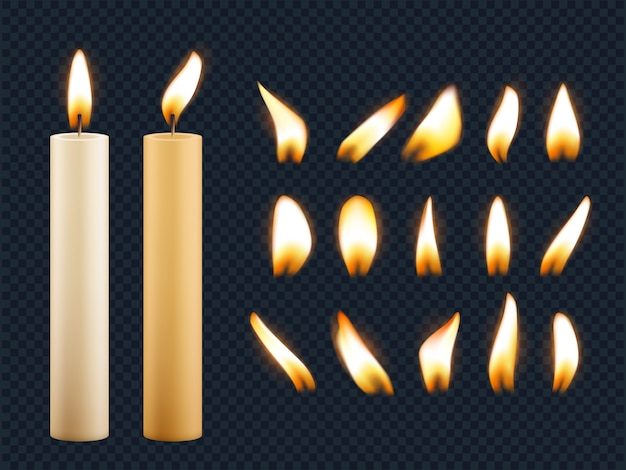 Wax candles. romantic lights from candle flame different shapes of fuse realistic collection