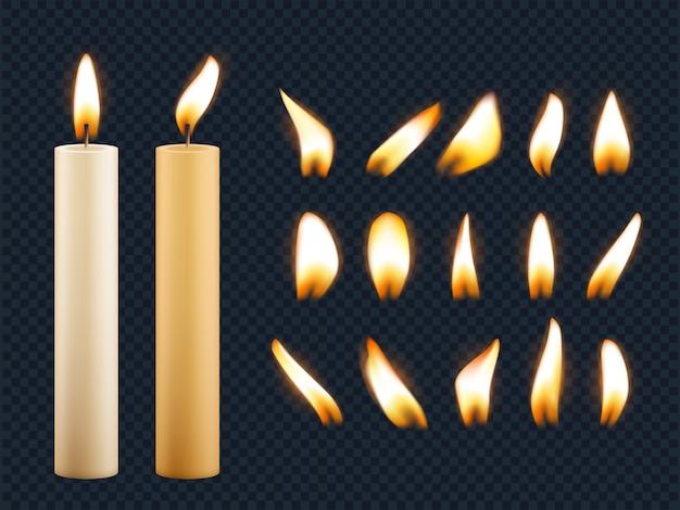ワックスキャンドル。ろうそくの炎からのロマンチックなライトヒューズのさまざまな形の現実的なコレクション