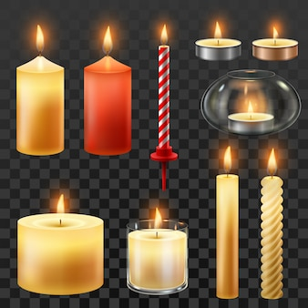 Wax romantic candles for christmas party isolated set
