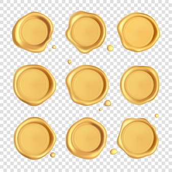 ワックスシールコレクション。透明な背景に分離された滴入りゴールドスタンプワックスシール。現実的な保証金切手。