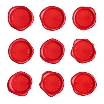 ワックスシールコレクション。白い背景で隔離赤いスタンプワックスシールセット。現実的な保証された赤いスタンプ。