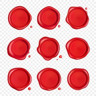 ワックスシールコレクション。透明な背景に分離した滴入り赤いスタンプワックスシール。現実的な保証された赤いスタンプ。