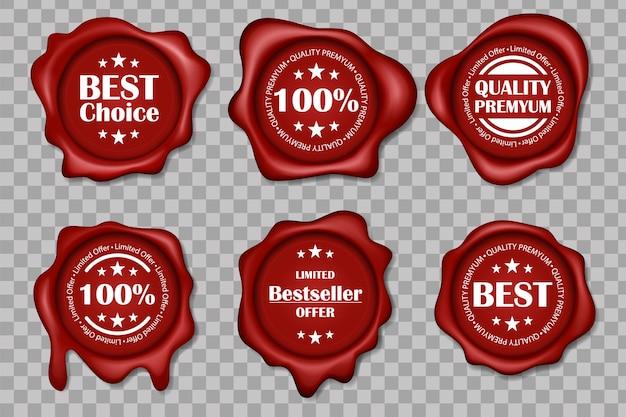 ワックスシールコレクション。プレミアム品質のワックススタンプのセット、現実的な最高価格の赤いワックスシールセット