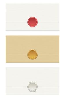 白い背景で隔離のワックスシール封筒イラスト
