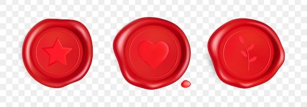 心、枝、星のワックスシール。心臓、枝、分離された星の赤いスタンプワックスシール