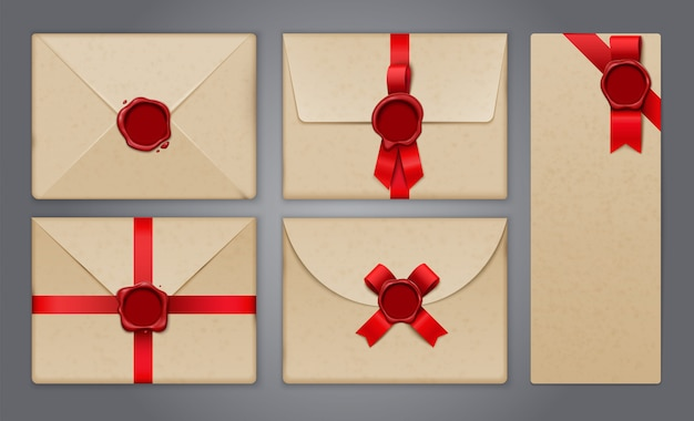 Wax seals envelopes and postcards set with realistic isolated images of greeting cards and paper invitations