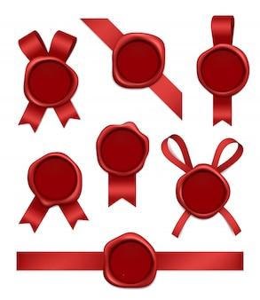 ワックススタンプとリボン。テープで封印された赤いゴムの郵便切手リアルな3d写真