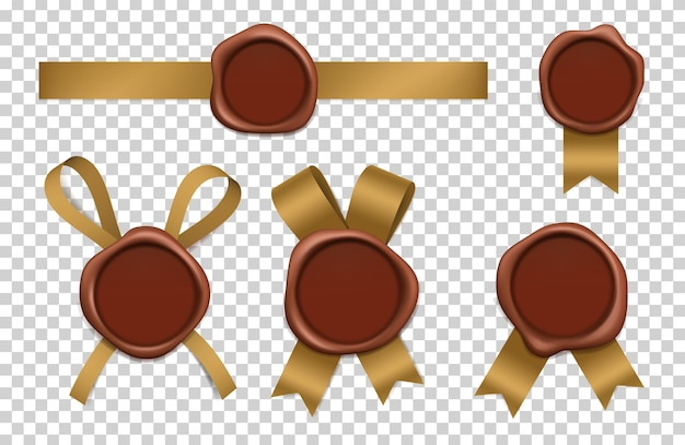 Wax stamp and gold ribbons. sealed brown rubber postal stamps with tapes realistic 3d pictures