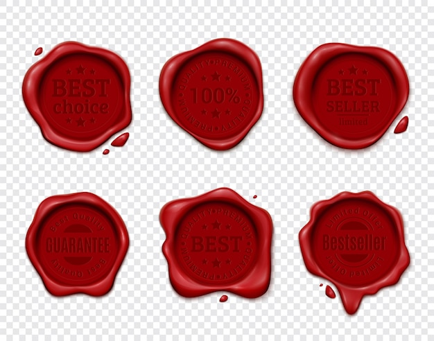 Wax stamp product ad set with six isolated wafers on transparent  with silhouette text emblems