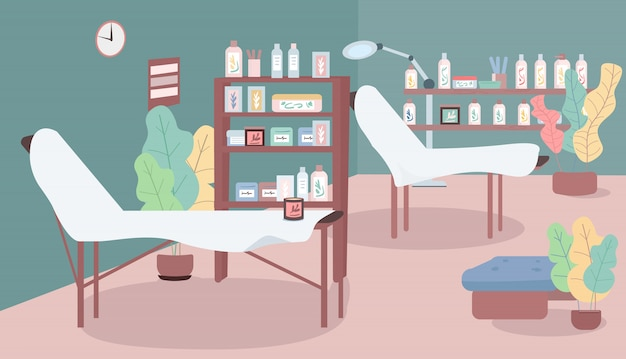 Waxing salon  color  illustration. workplace in cosmetology shop. beds for hair removing procedure. room for depilation. beauty parlour  cartoon interior with furniture on background