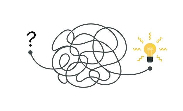 문제 해결 및 비즈니스 솔루션을 단순화하는 처음부터 아이디어 개념 그림 혼란에 이르기까지