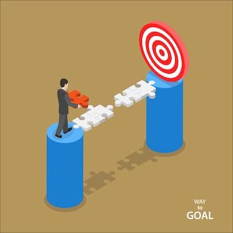 Way to the goal isometric flat vector concept.