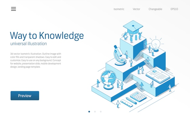 Way to knowledge. learning students teamwork. education system modern isometric line illustration. university courses, school class, book icons. 3d background. growth step infographic concept.